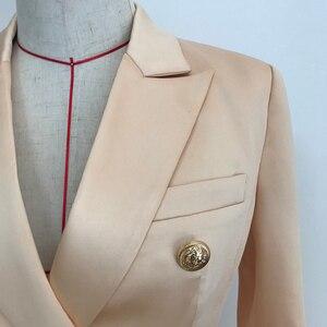 Image 4 - Hoge Kwaliteit 2020 Nieuwste Designer Blazer Vrouwen Dubbele Breasted Leeuw Knoppen Satijn Blazer Jacket Champagne