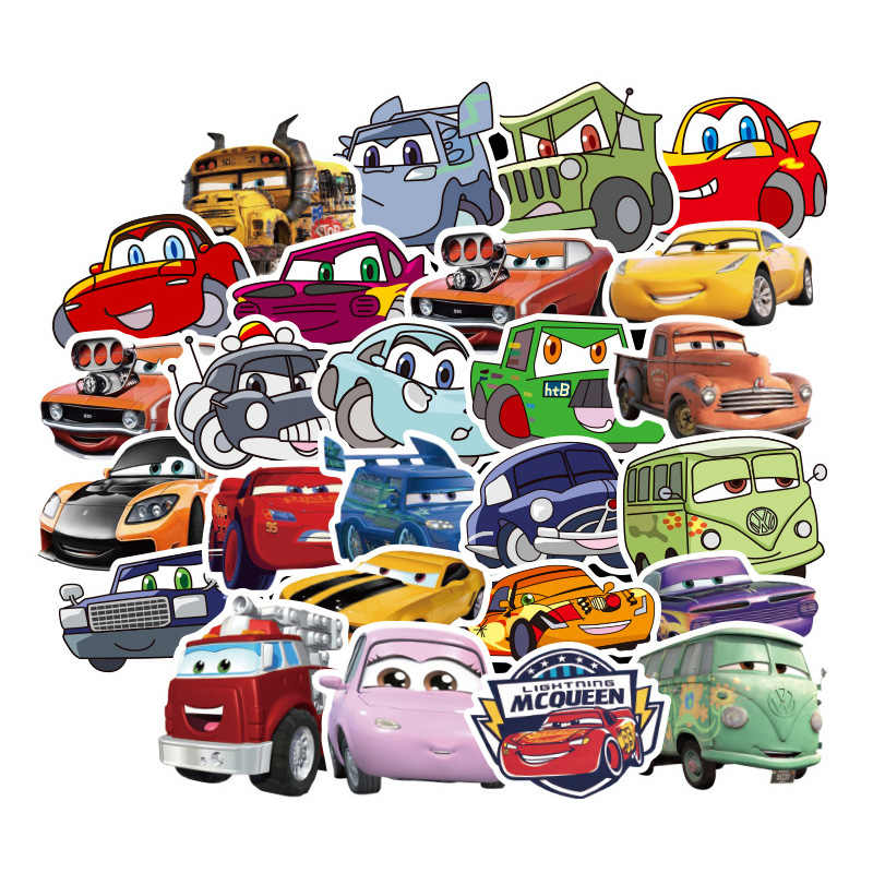 50 Pcs Disney Pixar Cars 2 3 Lightning McQueen Cartoon Stickers For Skateboard Motorcycle Luggage Laptop Guitar Notebook Toy Sti