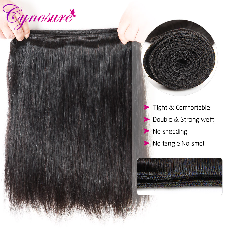 H005703cff9594500917b407e0ea6006a0 Cynosure Brazilian Straight Hair Weave 3 Bundles with Closure Natural Black Remy Human Hair Bundles with Closure