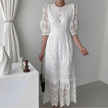 Elegant Hollow Out Women Dress High Waist Midi Dres