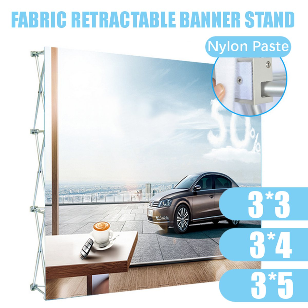 Aluminum Alloy Retractable Banner Stand Presentation Rack Flower Wall Frame Wedding Backdrop Decor 230*230cm/230*305cm/230*380cm