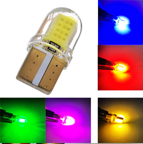 1pcs Silicone Crystal T10 COB LED Width Lamp W5W 168 194 Car Side Wedge Reading Lamp License Plate Light Parking Bulb Styling