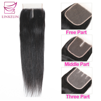 цена на LINKELIN HAIR Peruvian Straight Hair Closure Middle/Free/Three Part Lace Closure Hand Tied Remy Human Hair Extensions