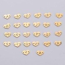 Fnixtar 26 pçs 1.2*12mm espelho polonês aço inoxidável coração carta encantos iniciais alfabeto conector charme para brança pulseiras