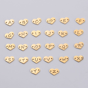 Image 1 - Fnixtar 26Pcs 1.2*12mm Mirror Polish Stainless Steel Heart Letter Charms Initials Alphabet Connector Charm For Braid Bracelets