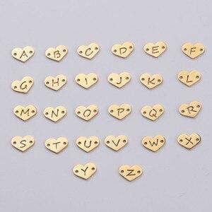 Image 1 - Fnixtar 26Pcs 1.2*12mm Spiegel Polnischen Edelstahl Herz Brief Charms Initialen Alphabet Anschluss Charme Für Braid armbänder
