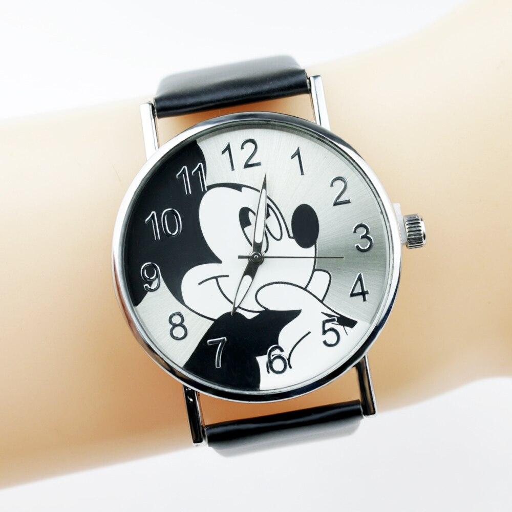 2020 Fashion Cartoon Women Watch Cute Mickey Children Watches  Leather Strap Quartz Wristwatch Ladies Dress Clock Girls Gifts