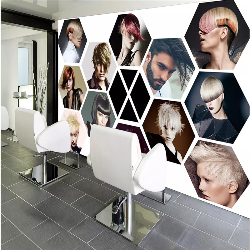 Modern Fashion Hair Salon Wall Paper 3D Beauty Salon Photo Wallpaper Mural Barber Shop Industrial Decor Papel De Parede 3D