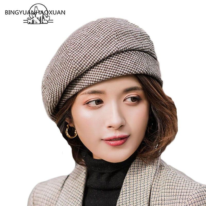 Berets Vintage Plaid Beret Hat Retro Autumn Winter Hats For Women Artist Painter Hat Ladies French Beret Women Hats