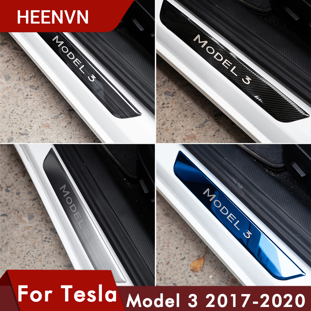 Heenvn Model3 Door Sill Decoration Wrap Cover For Tesla Model 3 Accessories Pedal Protection Strip 2020 Model Three Carbon Fiber