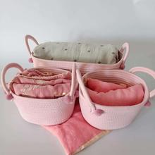 3PCS Cotton Rope Storage Basket Dirty Clothes Laundry Storage Pink Basket with Ball Organizer For Kids Toy Magaziner Nursery