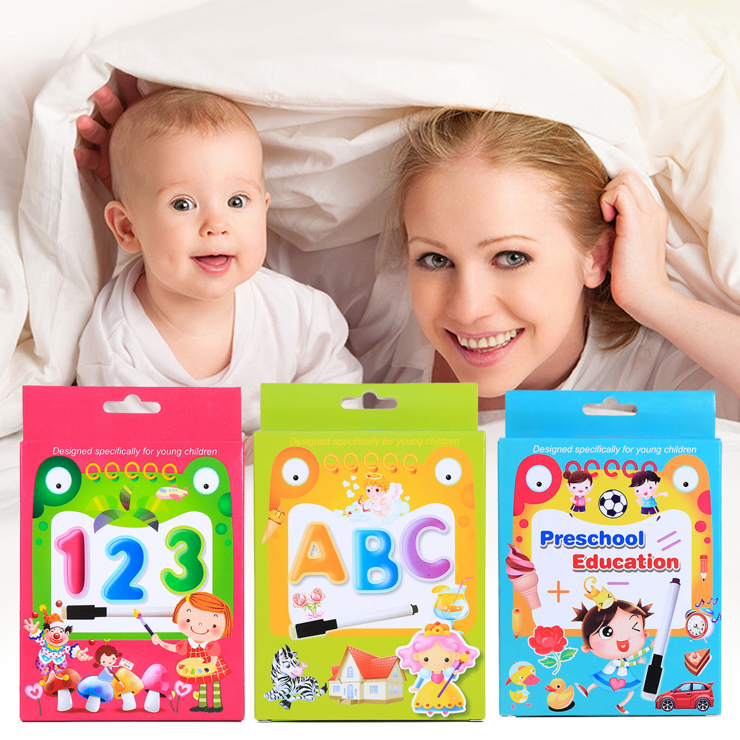 Kids Cognition Cards Cartoon Alphabet Letter Number Math Puzzle Matching Cognitive Flash Card And Whiteboard Marker Learning Toy