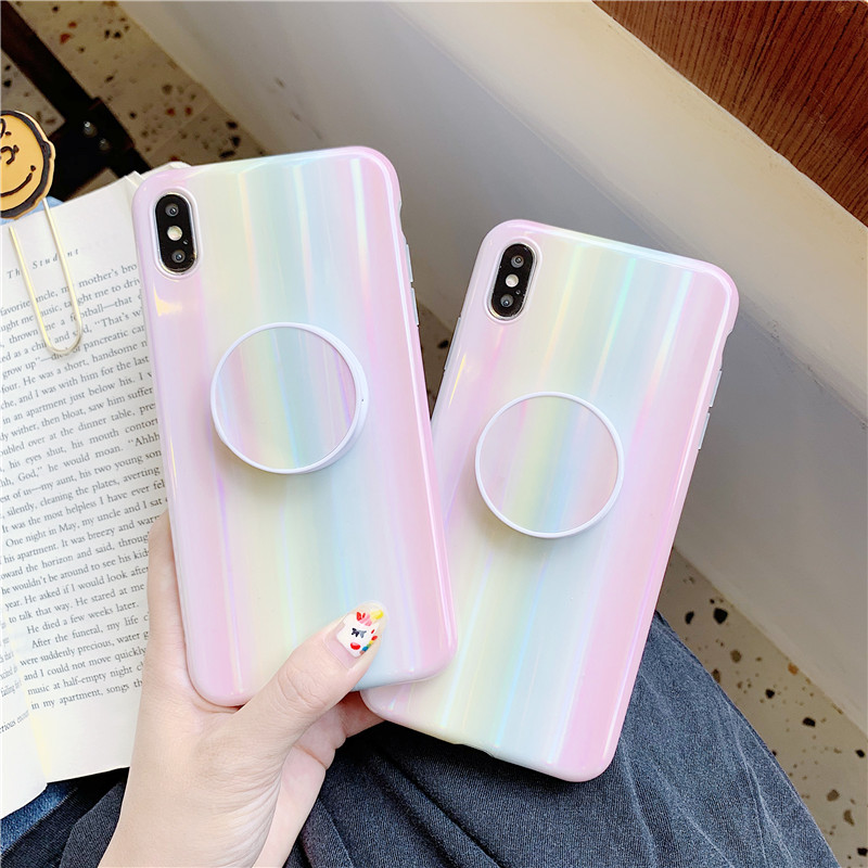 Luxury Aurora rainbow Phone Case For iphone XS Max XR X Case For iphone 11 Pro 6 6s 7 8 plus Back Cover Soft Case Laser Holder