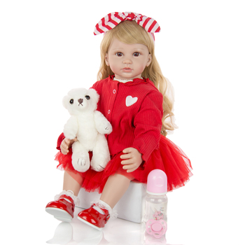 Lovely Reborn Baby Doll 60 CM twins toddler Baby Reborn Boneca Dolls Silicone Vinyl princess wear coat Doll With Long hair Toys