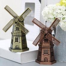 Figurita de edificio Retro holandés regalo antiguo recuerdo Vintage decoración del hogar bronce Holland Furnishing Windmill modelo Craft Ornament