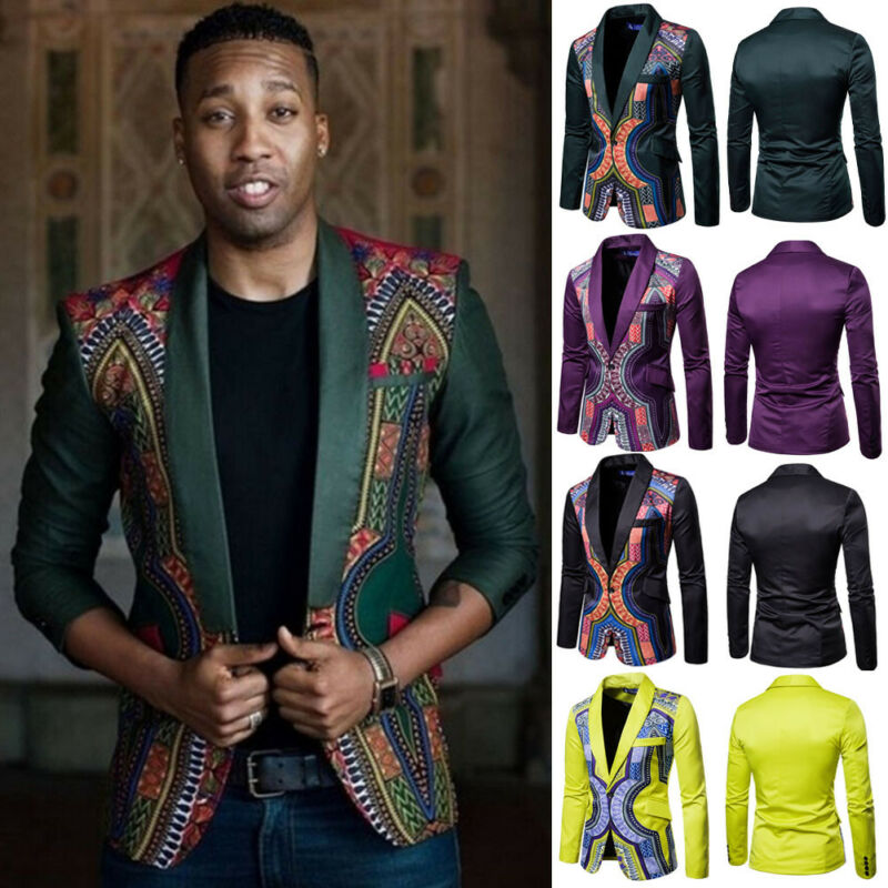 Mens Casual Blazers Slim Fit Casual African Print Coats African Dashiki One Button Suits Bridegroom Coat Jacket Men Tops
