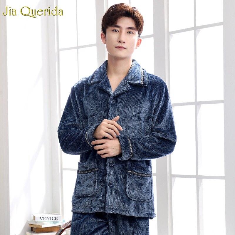 Mens Pijamas Set Winter Long Sleeves Pants Warm Flannel Soft Leisure Homewear Button Pocket Navy Cardigan Men Nightwear Pajamas