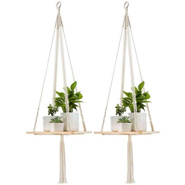 2pack Lace Frame Hanging Flower Pot Holder Flower Pot Lanyard Plant Sling Flower Stand With Wooden Flower Pot Lanyard 45 Inches Bathroom Shelves Aliexpress