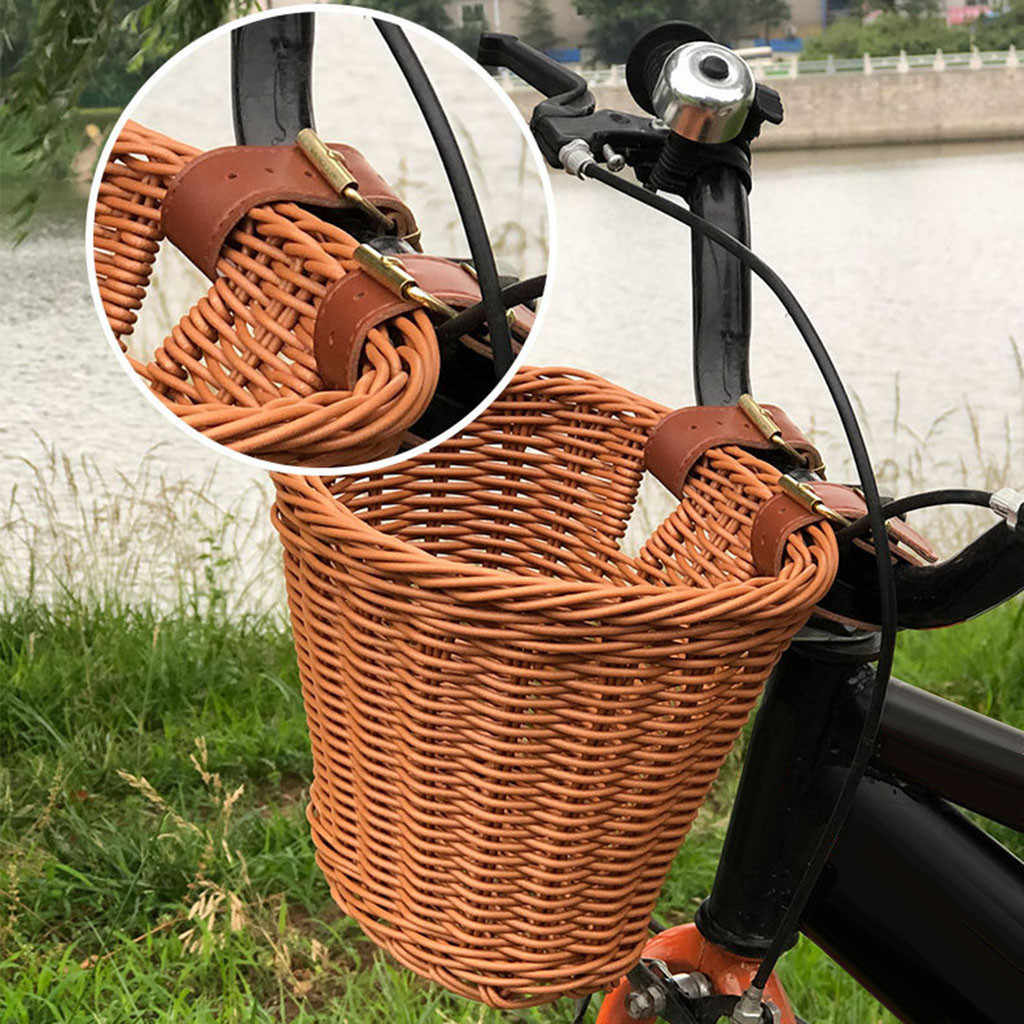Kids Front Handlebar Wicker Bike Basket Shipping Holder with Mount Straps