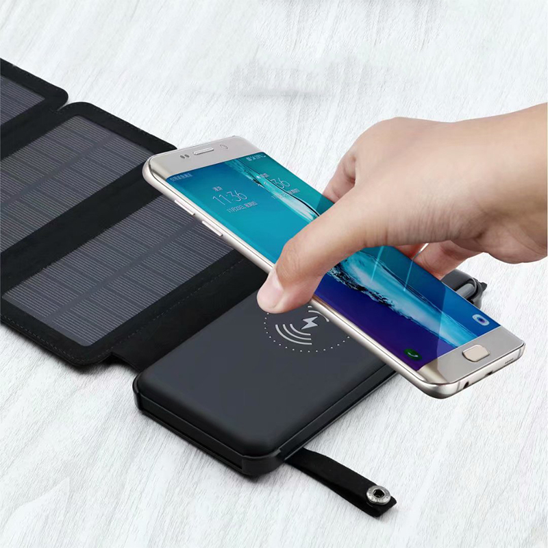 <font><b>12000mah</b></font> Solar Power Bank Waterproof Qi Wireless Charger for Samsung S9 iPhone X 8 plus Wireless Powerbank 2 USB Battery Charger image