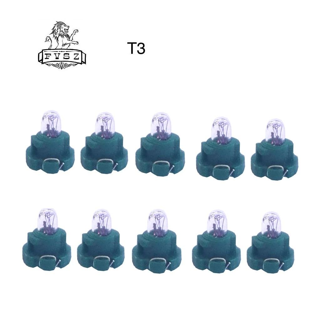 10 pces 3mm 14 v 0.56 w instrumento painel lâmpada carro t3 luz amarela para audi/honda/toyota/mitsubishi/nissan-verde