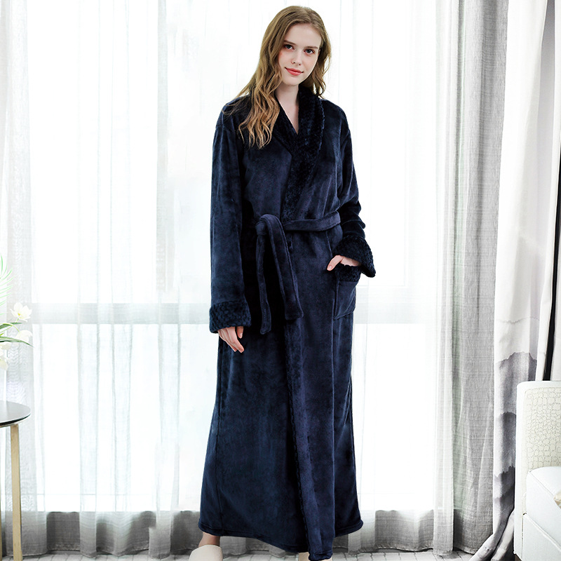 Lovers Coral Fleece Robe Autumn Winter Warm Sleepwear Women Men Thicken Bathrobe Lounge Nightgown Sexy Soft Home Clothes