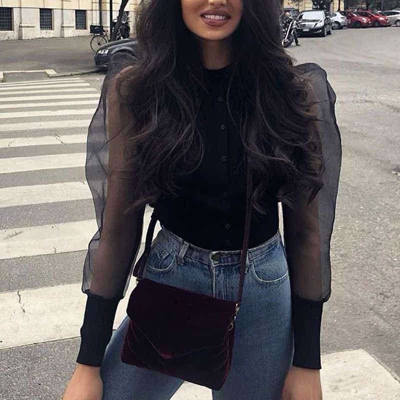 Women sexy stylish solid black blouse long puff sleeve stretchy transparent O neck female 2019 casual chic brand tops blusas