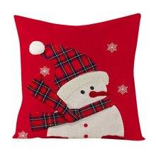 Счастливого Рождества год Наволочки из хлопка и льна Мягкая Кровать Чехол подушки сиденья автомобиля размером 45*45 см фестиваль Рождественское украшение для дома