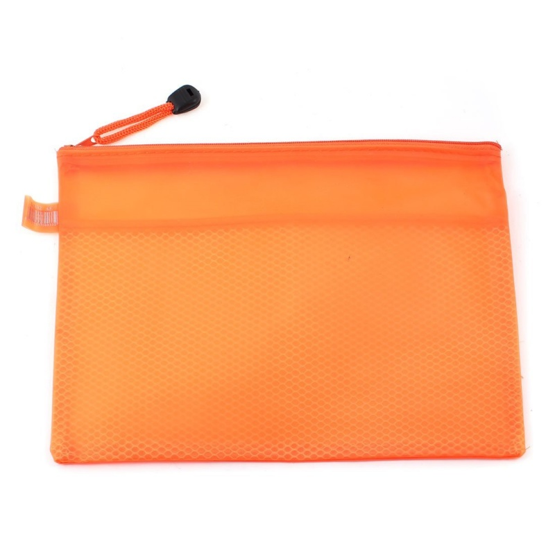 Orange Waterproof 2 Compartment Nylon Bag Zipper A5 File Bag
