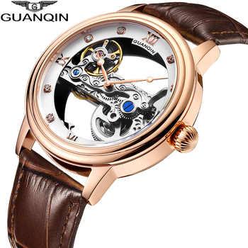 GUANQIN 2019 nouvelle montre hommes haut de gamme marque automatique lumineux hommes horloge creux Tourbillon étanche mécanique montre hommeAA