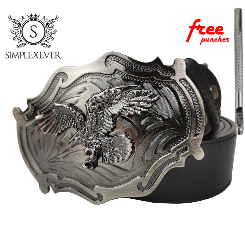 Western Cowboy Belt Buckle Metal Eagle Belt Buckle SilveColor Cool Jeans Belt Accessories Buckle With Belt Dropshipping 2020