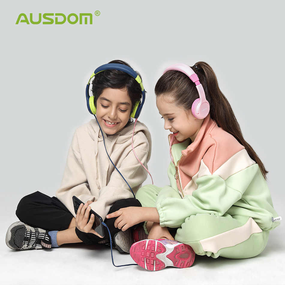 AUSDOM K1 ילדים אוזניות 85db ילד בטוח נפח שמיעה הגנה רך מחממי אוזני מעל אוזן מתנה לילדים ילדה ילד Wired אוזניות