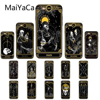 MaiYaCa Death Tarot Soft Silicone TPU Phone Case for iPhone 11 pro max 8 7 6 6S Plus X XS MAX 5 5S SE XR 10 Cover webbedepp jack skellington silicone soft case for iphone 5 se 5s 6 6s plus 7 8 11 pro x xs max xr