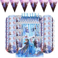 91 Teile/los Gefrorene 2 Prinzessin Birthday Party Supplies Partei Papier Platten Stroh Tassen Gefrorene 2 Elsa Anna Party Baby dusche decor
