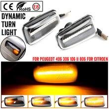 Miga samochód lampka kierunkowskazu światło stroboskopowe LED dynamiczny migacz dla Peugeot 306 106 406 806 ekspert Partner Citroen Xantia Fiat XM