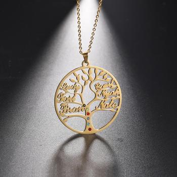 My Shape Family Name Customized Tree of Life Necklace Stainless Steel Rhinestone Personalized Letter Necklaces 2020 New Jewelry