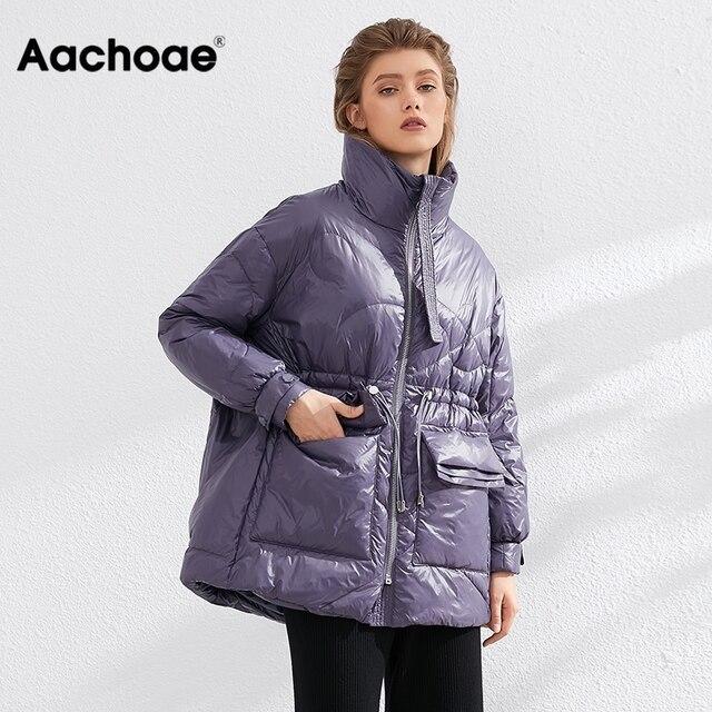 Aachoae Pure Winter Lightweight Down Jacket Women Thick Warm Batwing Long Sleeve Loose Doudoune Pocket Ultra Light Duck Down 4