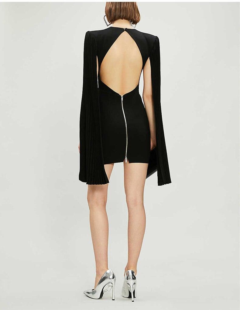 Short Sexy Evening Party Dress Extra Long Flare Sleeve Backless Bodycon Club Mini Dress Women Black Solid Elegant Dresses - 3