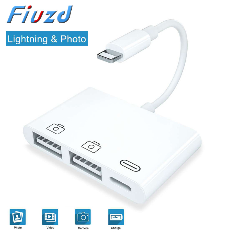 Fiuzd New OTG Double USB Adapter For IPhone 8 X IOS 13 USB Camera U Flash Drive Converter For Lightning USB Cable Headphones