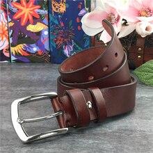 Stainless Steel Belt Buckle Leather Belt Men Thick Luxury Vintage Pin Men Belt Genuine Leather Long Belt 95-130CM SBT0001