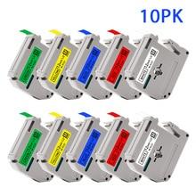 UniPlus 10PK 12mm Label Tape Fit for Brother MK Label Maker MK 231 M-K231 431 mk631 MK731 Black on White P Touch Printer Ribbon