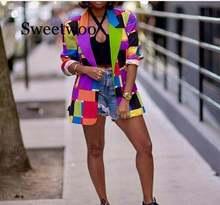 Женский Цветной блейзер с принтом элегантные женские шикарные
