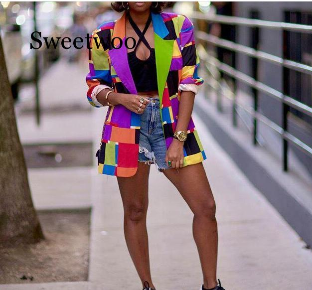 Women Printed Colorful Blazer Elegant Ladies Chic Streetwear Jackets