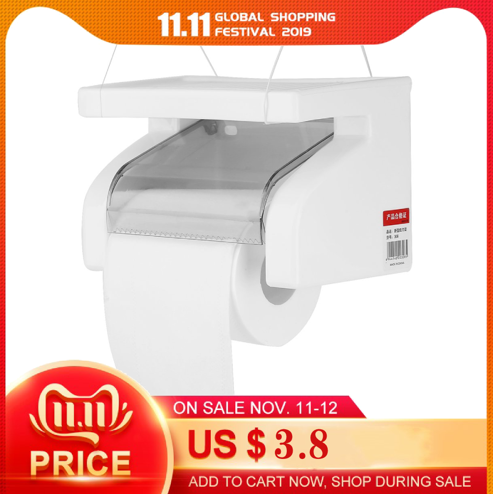 Wall Mounted Plastic Waterproof Toilet Roll Paper Box Holder Bathroom Tool New Arrival  Hot Store
