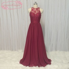 burgundy bridesmaid dresses real picture sheer crew neckline lace chiffon wine red wedding guest party dresses long burgundy lace details crew neck long sleeves high waisted dresses
