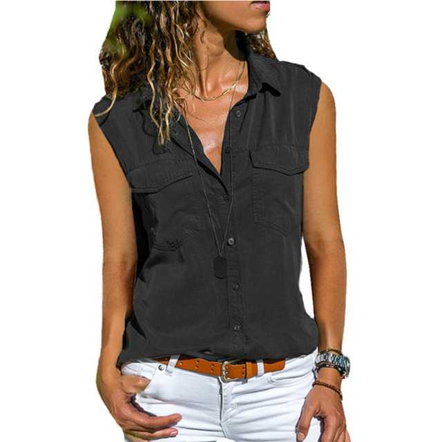 2021 Summer Casual Blouse Women Top And Blouse Women Shirt Sleeveless Button Pocket Black Solid Turn-down Collar Shirt 1