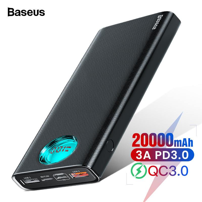 Baseus 20000mAh Power Bank Type C PD Quick Charge 3.0 20000 MAh Powerbank For Xiaomi Mi IPhone Portable External Battery Charger