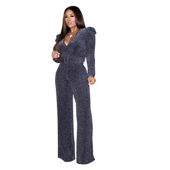 Mirsicas High Stretch Nylon Shiny Gold Silk Casual Jumpsuit