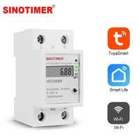 Smart Leben Tuya APP Einphasig Din-schiene WIFI Smart Energy Meter Power Verbrauch Monitor kWh Meter Wattmeter 220V 110V AC