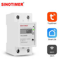 Vita intelligente Tuya APP Monofase Su Guida Din WIFI Smart Energy Meter Consumo di energia Monitor kWh Metro Wattmetro 220V 110V AC